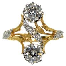 18K Gold (750/1000) and Platinum Art Nouveau Ring, Old Cut and Rose Cut Diamonds, circa 1900