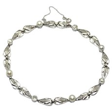 Art-Deco Diamonds and Pearls Bracelet