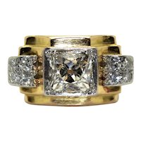 18K gold (750/000), platinum and old cut diamonds Tank ring, circa 1940