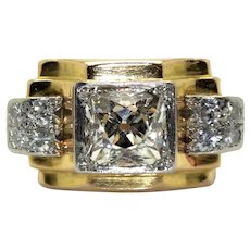 18K gold (750/000), platinum and old cut diamonds Tank ring, circa 1940