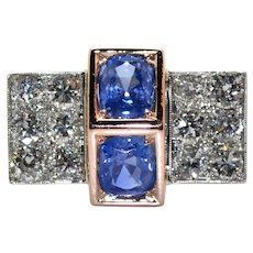 Art Deco Two Sapphire and Diamonds Ring