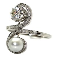Antique Diamonds and Pearl Ring, circa 1920