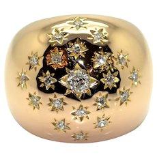 Vintage Star Gold Diamonds Bombe Ring