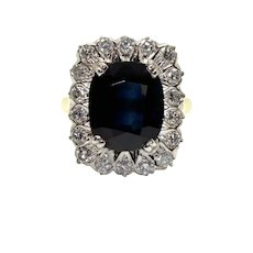 Vintage Diamonds and Sapphire Cluster Ring