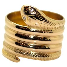 Gold and Diamonds Snake Ring