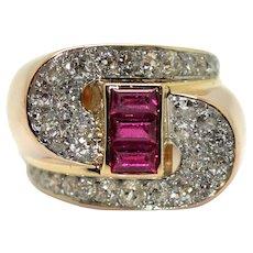 18 K gold (750/000), platinum, diamonds and red stones Tank ring, circa 1940