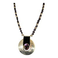 Carol Felley Modernist Pendant Necklace Amethyst and Sterling