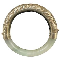 Chinese Export Repoussé Silver and Jade Bangle