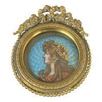 Art Nouveau French Copper Enamel Portrait Miniature, c 1900