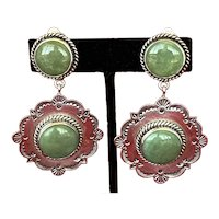 Reve Sterling and Turquoise Double Cabochon Southwestern Earrings