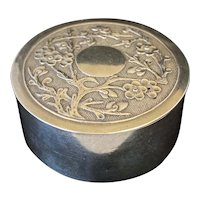 Chinese Export Silver Repoussé Round box