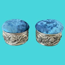 Tiffany & Co Makers Silver Pin Cushion Boxes, c 1900, PAIR