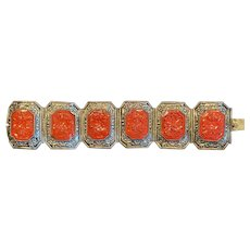 Vintage Chinese Cinnabar and Silver (plate) bracelet