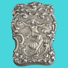 Unger Brothers Art Nouveau Sterling Silver Match Safe Vesta box, c 1900