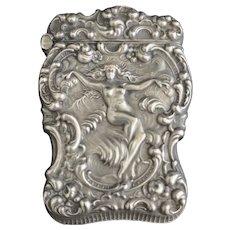 Unger Brothers Art Nouveau Sterling Silver Match Safe Vesta box, c 1900