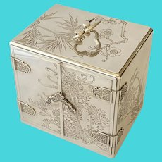Vintage Japanese Sterling Silver Highly Decorated Jewel Box