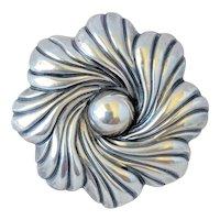 Vintage Los Castillo Sterling Silver Circular Floral Modernist Brooch Pin