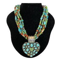 Navajo Kee Cook Sterling and Turquoise Pendant Necklace