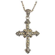 Sterling Silver and Marcasite Cross with Sterling Silver Chain