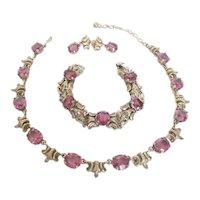 Gorgeous Guglielmo Cini Sterling and Amethyst Parure Necklace Bracelet Earrings