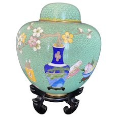 Beautiful Vintage Chinese Cloisonné Ginger Jar on Rosewood Stand