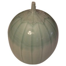 Cliff Lee Gourd Shaped Vase Form Celadon Glaze with Prickly Calyx around the Stem