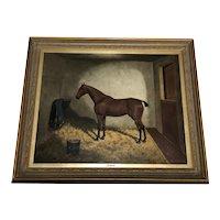 Antique Oil Painting Horse Portrait 'Jennie' Listed Frederick Albert Clark