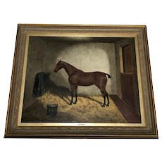 Antique Oil Painting Horse Portrait 'Jennie' Listed Frederick Albert Clark