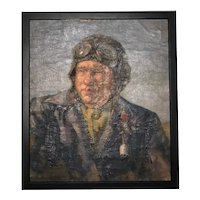 "20th Century Russian Art Oil Painting Portrait ""The Pilot"""