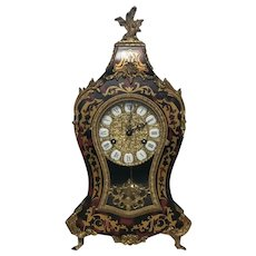 Large 20th Century Gilt Ormolu Marquetry Boulle Mantle Clock