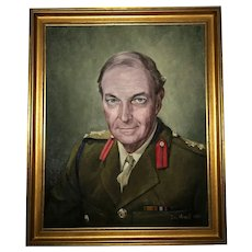 Fine Wall Art Late 20th Century Portrait Oil Painting British Military Officer Commander Brigadier