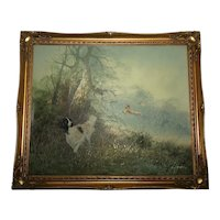 20th Century Oil Painting Hunting Setter Dog & Pheasants In Flight L Eiford