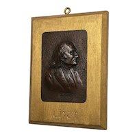 """Antique Edwardian Bronze Sculpture Franz Liszt """"Music Composer Plaque"""
