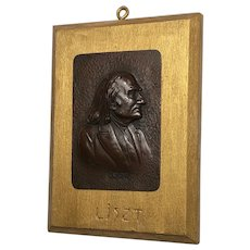 "Antique Edwardian Bronze Sculpture Franz Liszt ""Music Composer Plaque"