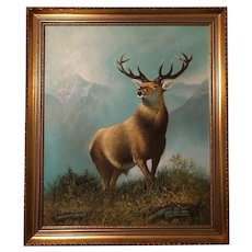 Fine English School Art 20th Century Oil Painting Stag Deer Animal Portrait In Scottish Highlands