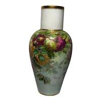 Antique Victorian 19th Century Cauldon Porcelain Rose Flower Vase Signed S Pope
