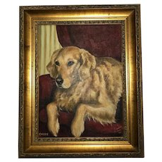 20th Century Oil Painting Golden Labrador Dog Portrait By Rosemarie Donaldson