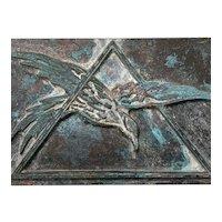 Art Deco Bronze Freemason Masonic Lodge Federal Eagle Plaque