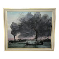 "20th Century Marine Oil Painting London ""Busy Thames"" Tug Boats Steam Ships"