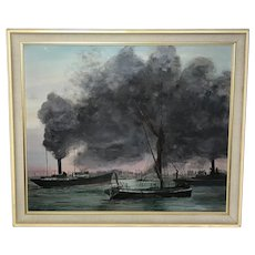 """20th Century Marine Oil Painting London """"Busy Thames"""" Tug Boats Steam Ships"""