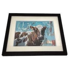 Large Fine Portrait Painting Cow Signed James Bartholomew R.S.M.A.