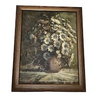 "20th Century Oil Painting Still Life ""Daisies"" Listed John Smith"