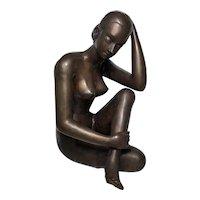 Vintage 1970's Bronze Nude Tribal Lady Crossed Legs Statue