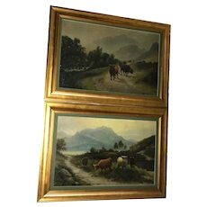 Pair Fine Victorian Oil Paintings 19th Century Scottish Highlands Cattle
