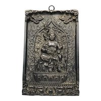 Late Qing 19th Century Chinese Religious Temple God Carved Plaque Sculpture