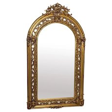 Vintage Fine XL French Sphinx Mask Gilt Pier Glass Arched Mirror