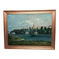 Fine Art 20th Century Oil Painting Royal Windsor Castle View From The Thames
