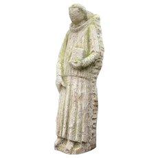 1 Rare 18th Century Antique Carved Stone Sculpture Religious Statue Monk