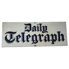 Original Enamel Daily Telegraph Newspaper Advertising Sign Circa 1950's