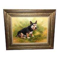 "English Oil Painting ""The Faithful Friend"" Dog Portrait Listed FJ Haycock Circa 1983"
